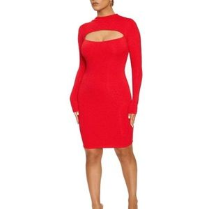 NWT Naked Wardrobe - Bright Red Bodycon w/ Cutout